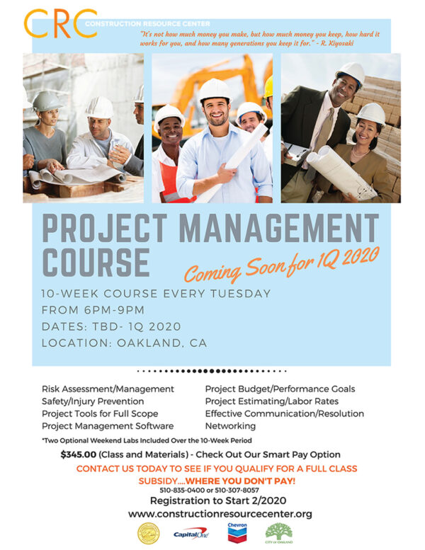 CRC Project Management Course 1Q 2020